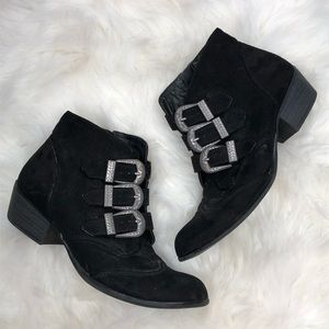 So Kohls Black Western Silver Buckle Ankle Boots